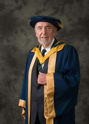 William M Sword, Honorary Fellow and Honorary Graduate of Abertay, in the graduation gown
