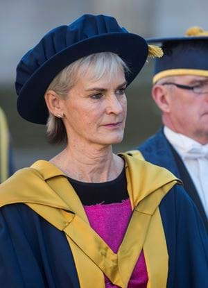 Picture of Judy Murray wearing graduation clothing