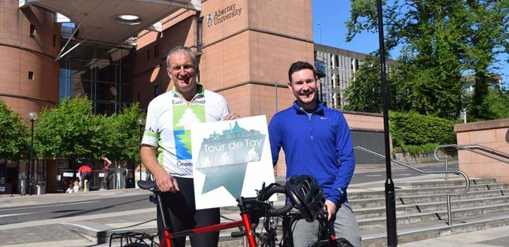 Principal Nigel Seaton and Robbie Francis of Thorntons Solicitors with bicycles for Tour de Tay 2018 launch.
