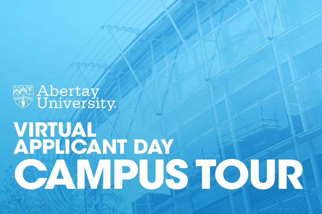 Welcome to Abertay's Virtual Applicant Day! The campus tour video's thumbnail is of a duotone image of the Bernard King library, an important part of the Abertay University campus.