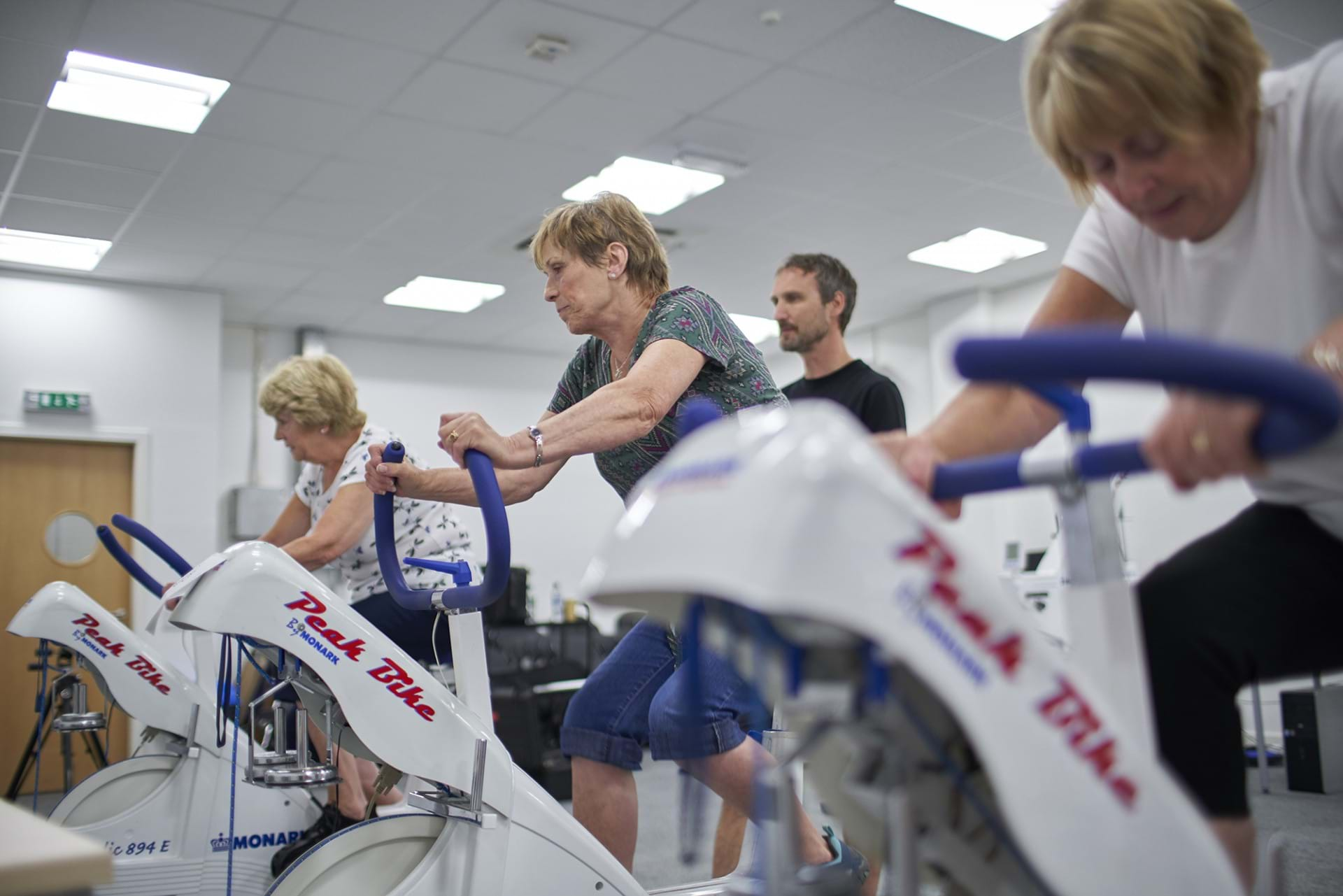 Study participants on exercise bikes