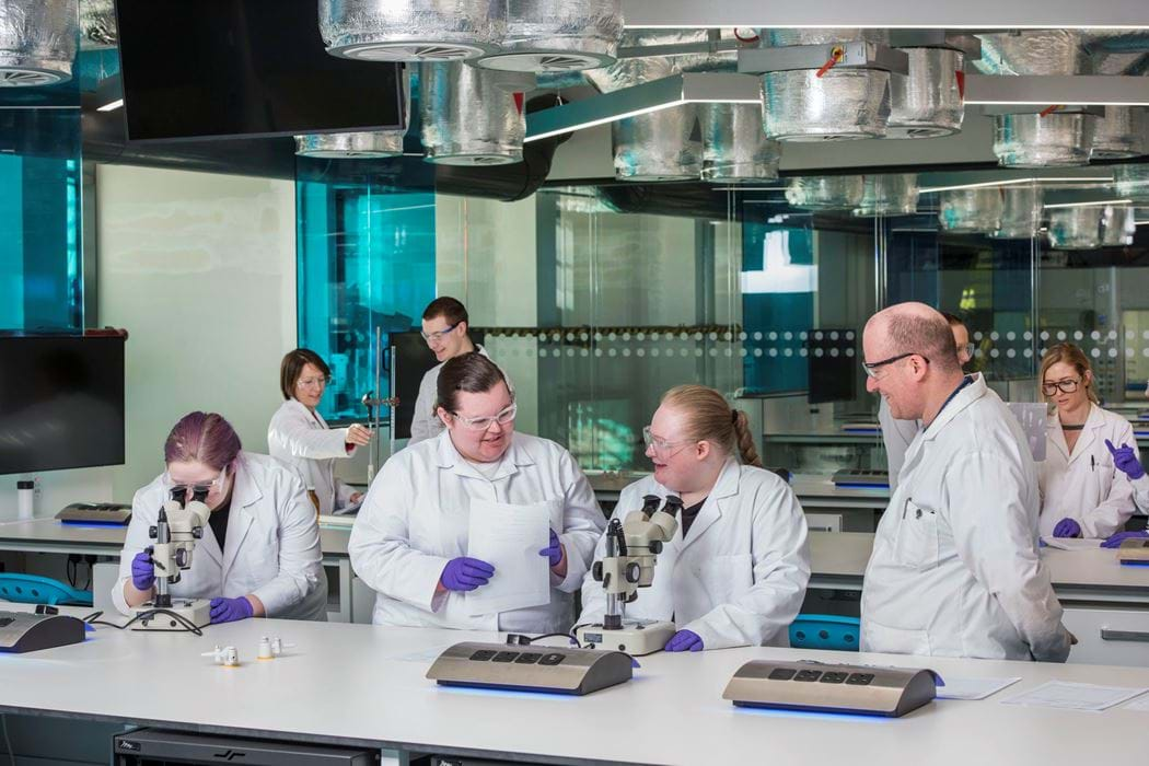 Science laboratory - group of people working with microscopes