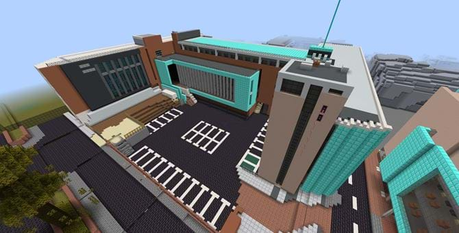 An aerial view of Abertay's Minecraft recreation