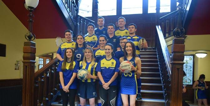 A photo of the Abertay sport teams wearing their new kits