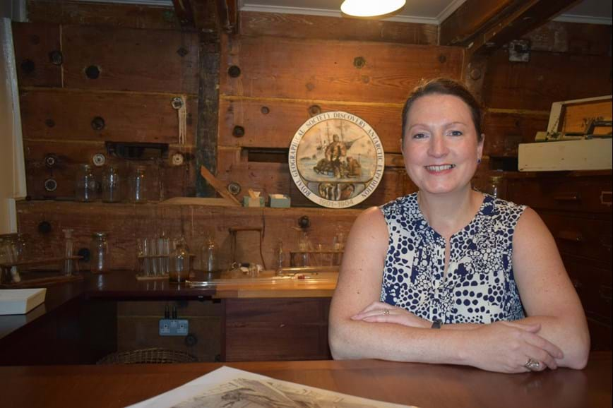 Dr Rebecca Wade aboard the RRS Discovery