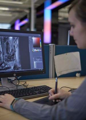 Abertay student creating digital art
