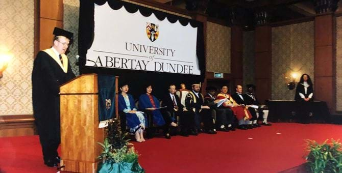 A graduation ceremony at Abertay during the 90s