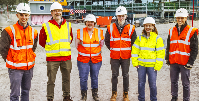 Staff and Students on Robertson's construction site