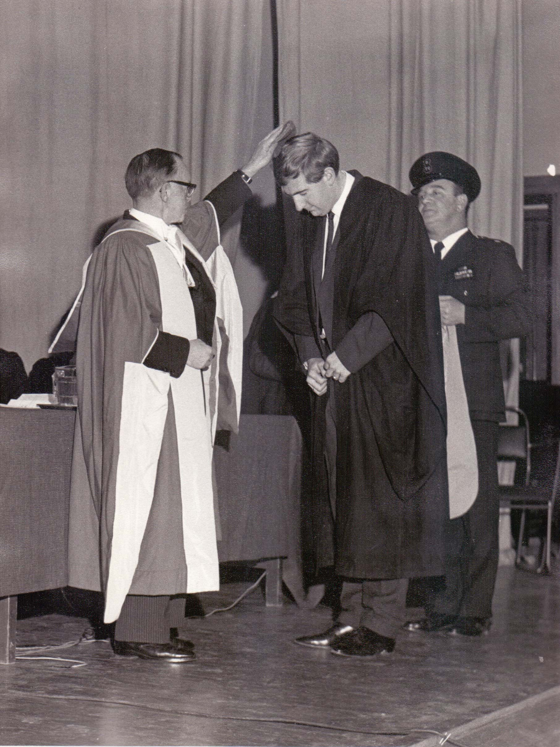 Dundee Technical College Graduation showing a Graduand being capped 1967