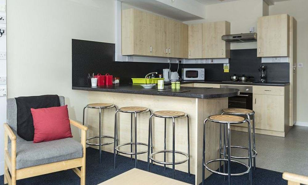 Kitchen with breakfast bar and small appliances