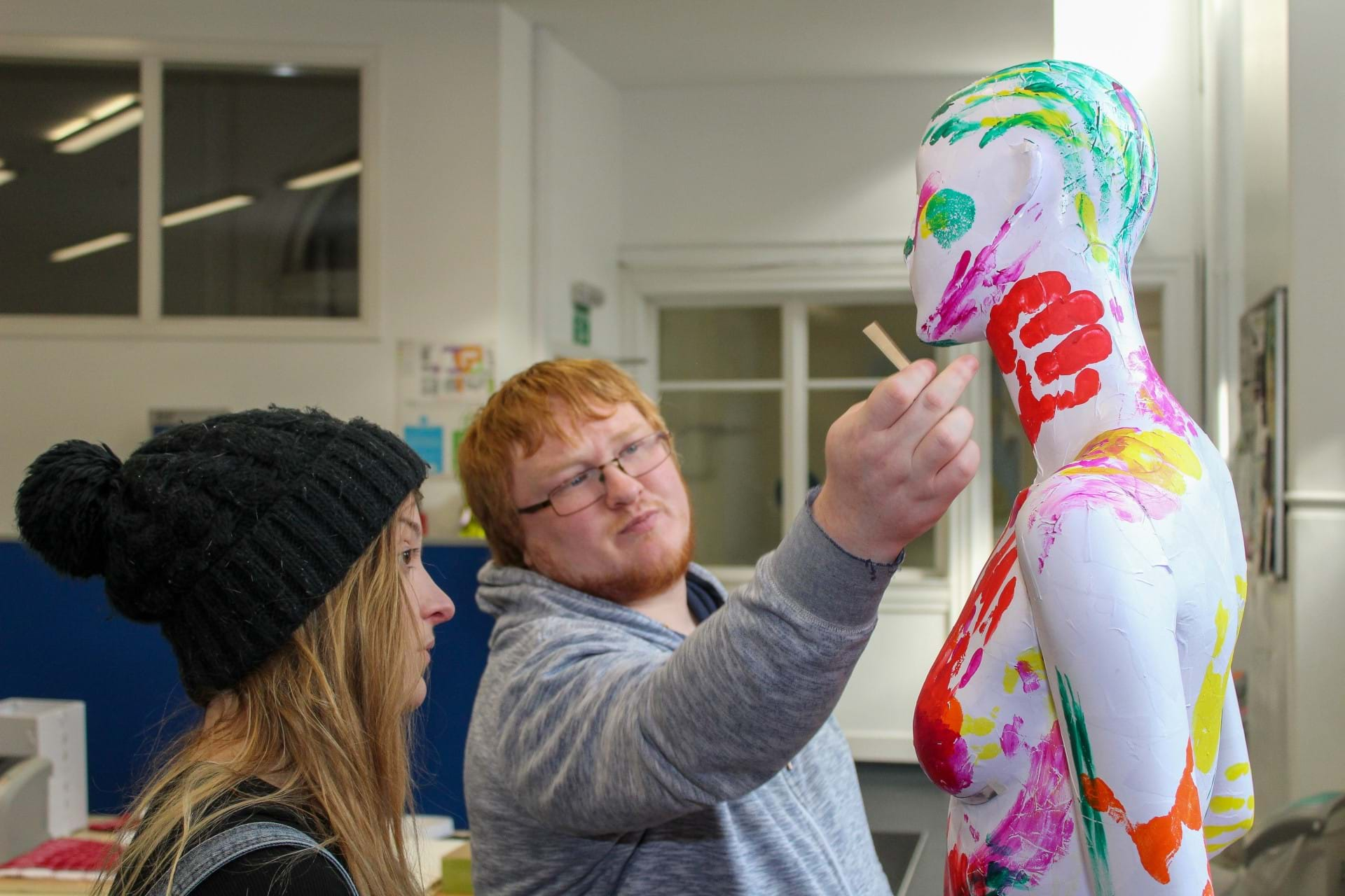 Students Robyn McMillan and Jamie Haddow turn a store mannequin into a games controller