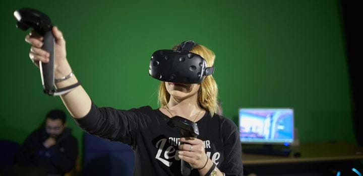 Female wearing a Virtual Reality headset