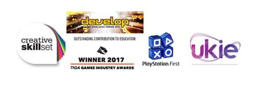Accreditation logos for Abertay's computer games courses