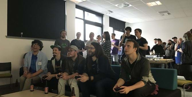 Group of people playing a computer game