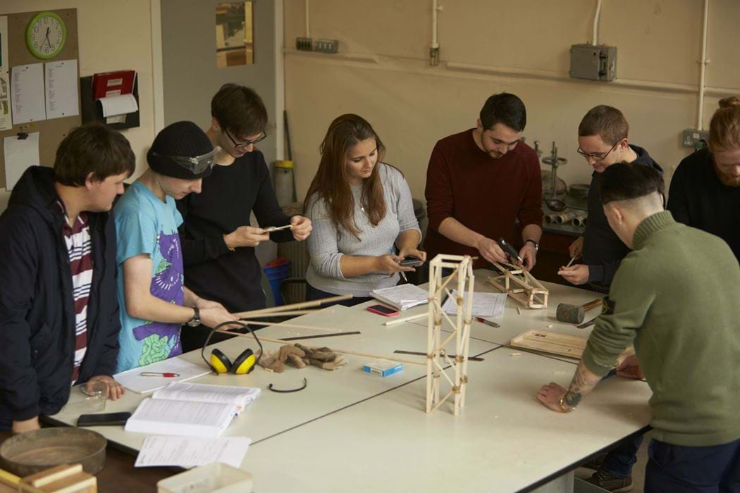 Group of Civil Engineering students working together