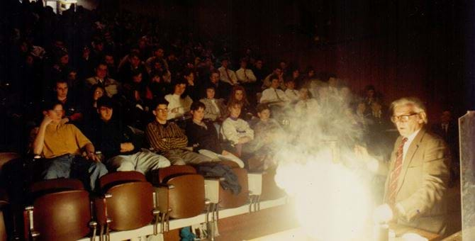 An explosive lecture at Dundee Institute of Technology c. 1990