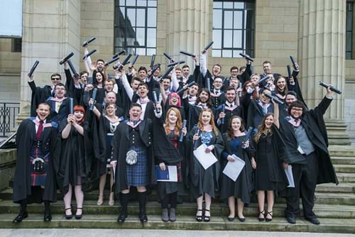 One of the 2017 classes graduating Abertay in 2017.