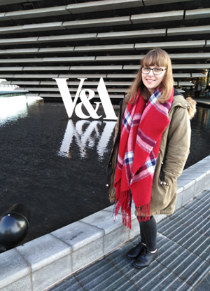 Amanda standing outside of the V&A Dundee