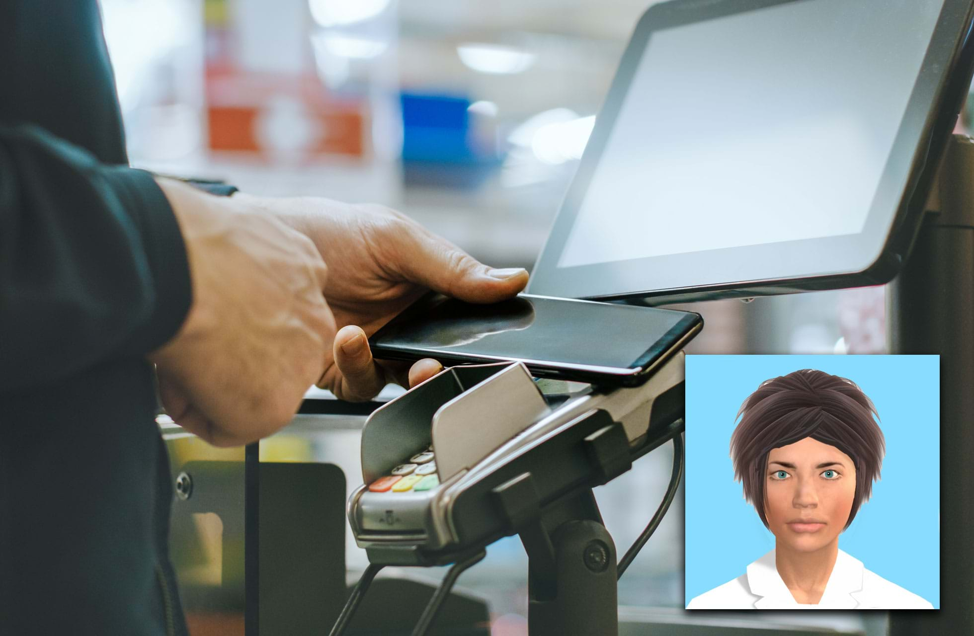 A picture of a checkout and a digitised face