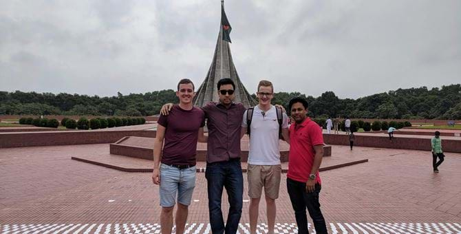 Stefan and Euan at the National Martyr's Monument in Savar