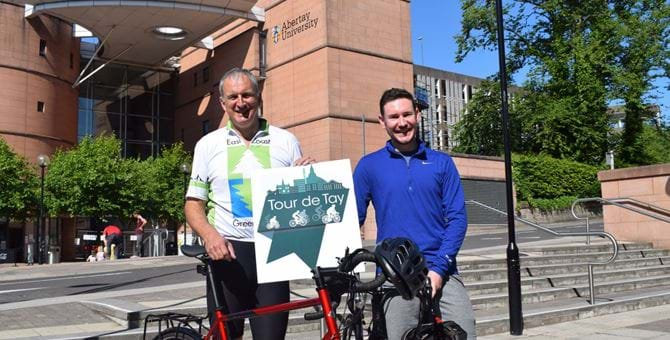 Principal Nigel Seaton and Robbie Francis of Thorntons Solicitors with bicycles for Tour de Tay 2018 launch. Edit.