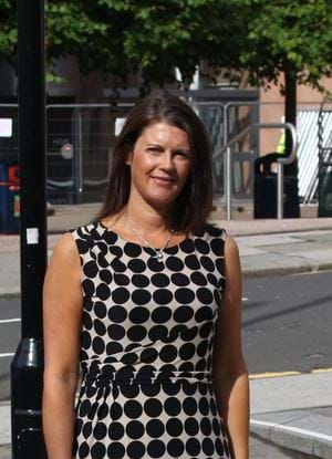 A picture of Pamela Davidson outside Abertay University