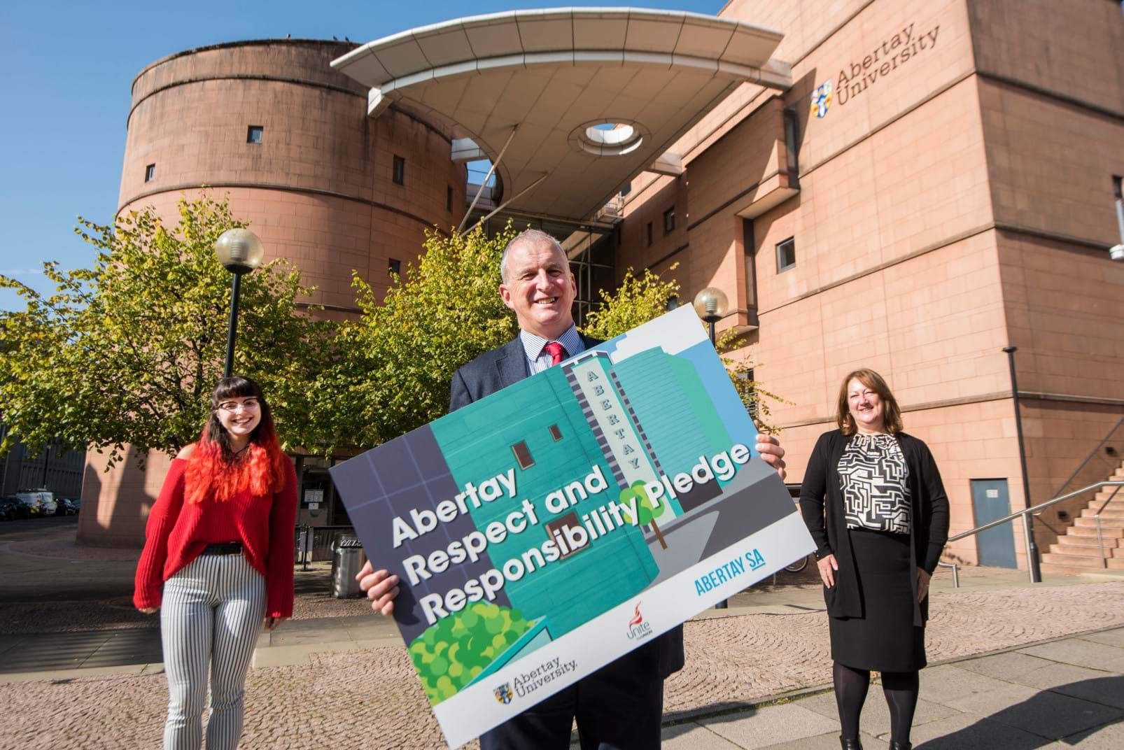 Staff and students from Abertay launch the pledge