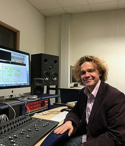 Dr Kenneth McAlpine at the Abertay Recording Studio.