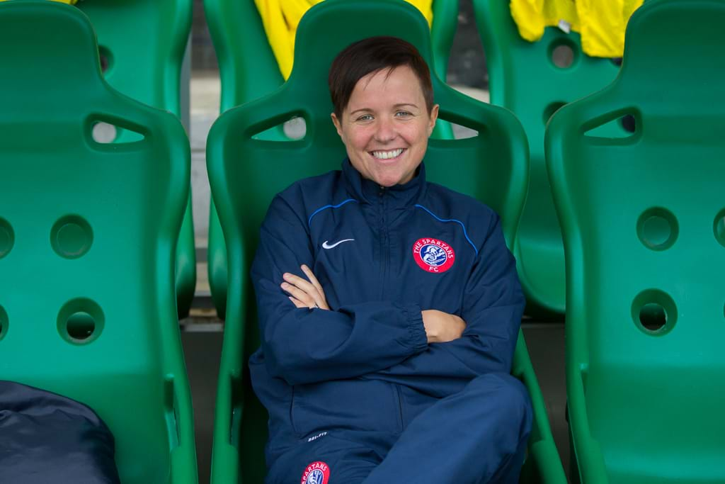 A photo of Debbi McCulloch in the dugout