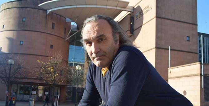 A picture of Dr Andrew Samuel outside Abertay Library