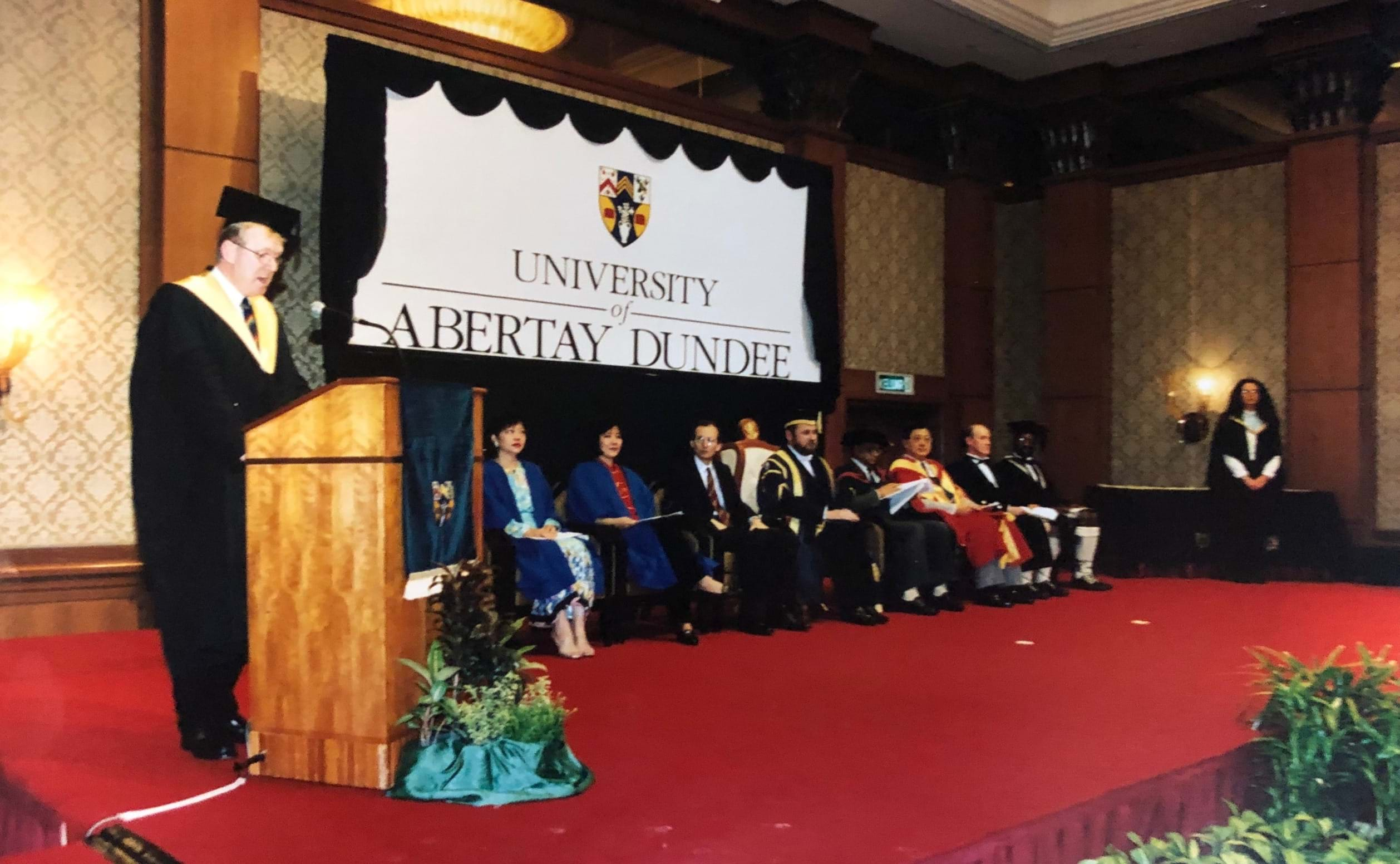 A picture of an Abertay graduation ceremony in the 90s