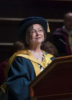A picture of Dr Jean Venables giving her graduation speech.