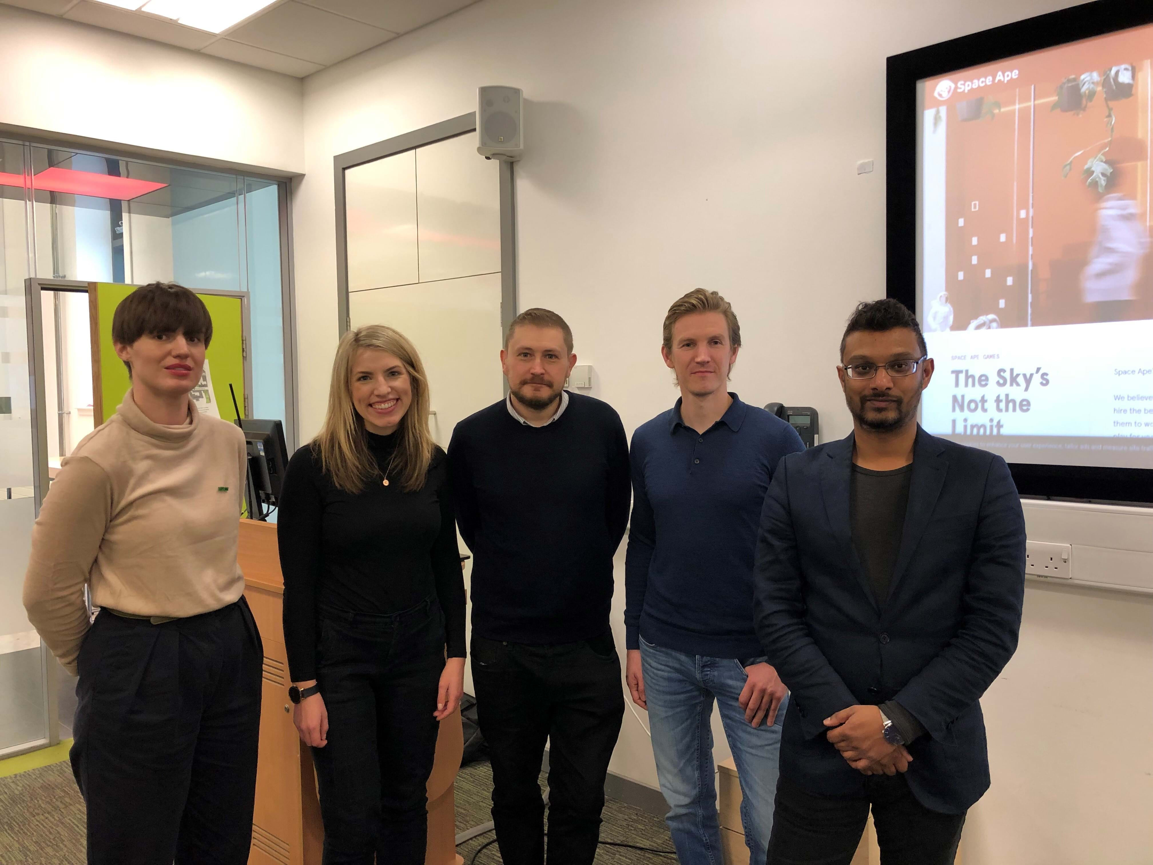 Left to right: Laura Clarke, Policy Officer NSPCC; Karen Hutchison, Senior Officer CEOP Partnership Delivery (NCA); Andy Burrows, Head of Child Safety Online Policy, NSPCC; Max Bauer, Head of Customer Service, Space Ape Games; Darshana Jayemanne, Lecturer in Games and Arts, Abertay University