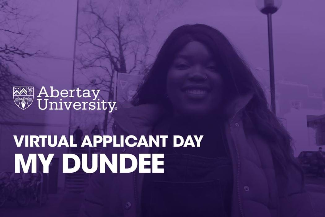 A duotone picture of Marketing and Business student Farisai Mukonoweshuro in front of the Bernard King Library on the Abertay Campus.