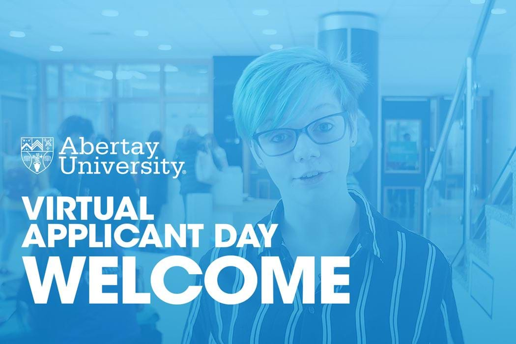 Welcome to Abertay's Virtual Applicant Day! The welcome video's thumbnail is of a duotone image of an abertay student Shanna Maxwell.