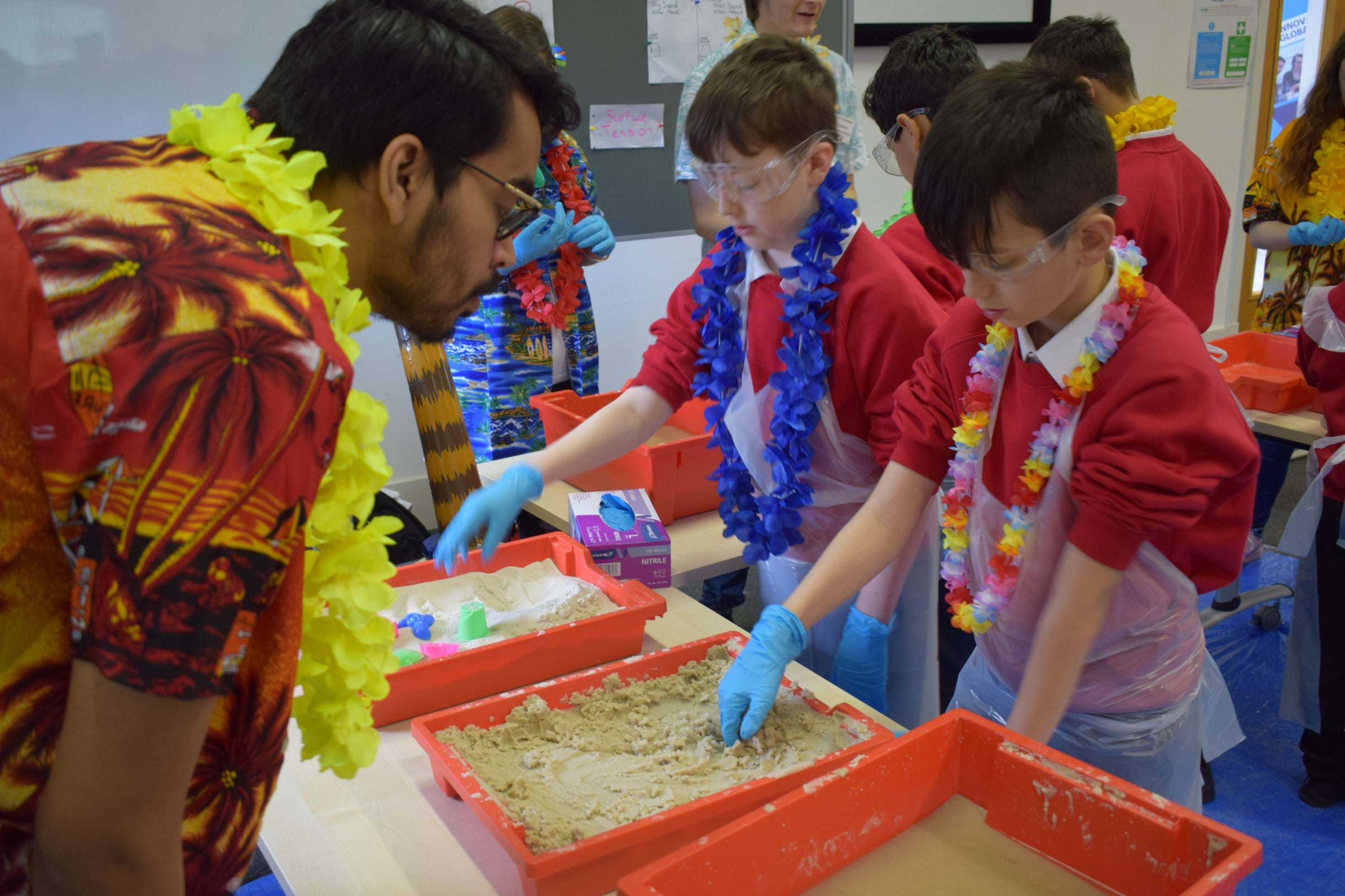 Children from Rosebank Primary learn about the science of sandcastle building